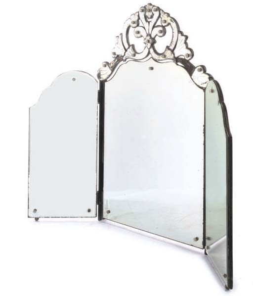 A VENETIAN THREE-FOLD DRESSING MIRROR
