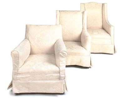 THREE UPHOLSTERED ARMCHAIRS