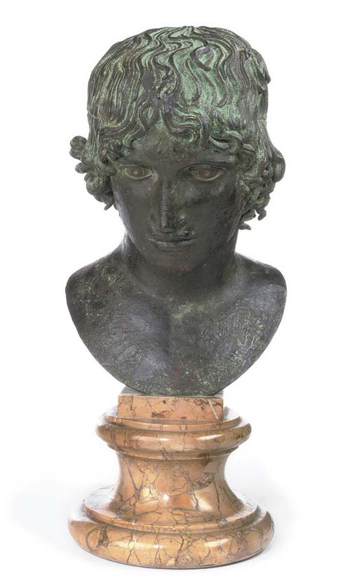 A NEAPOLITAN BRONZE HEAD OF A YOUTH