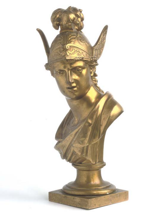 A FRENCH GILT-BRONZE BUST OF MERCURY