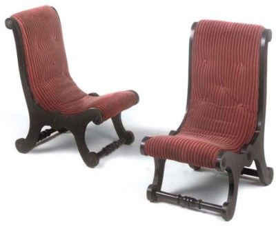 A PAIR OF VICTORIAN EBONISED L