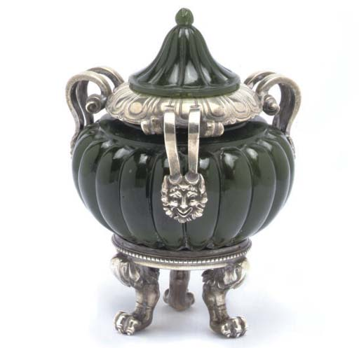 A SILVER MOUNTED NEPHRITE THREE-HANDLED POT