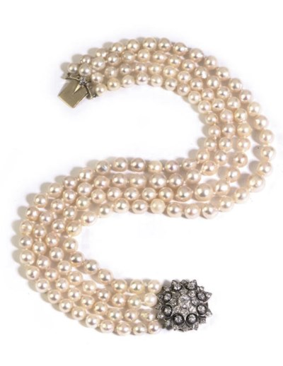 A CULTURED PEARL AND DIAMOND C