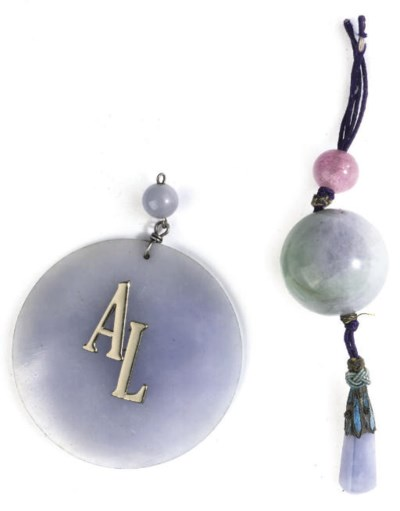 A JADEITE BEAD PENDANT AND A L