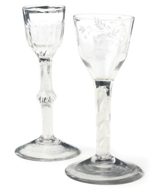 TWO OPAQUE-TWIST WINE GLASSES