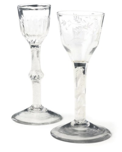 TWO OPAQUE-TWIST WINE GLASSES