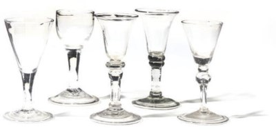 A GROUP OF FIVE WINE GLASSES