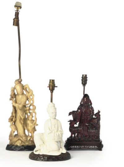 THREE CHINESE FIGURAL LAMPS