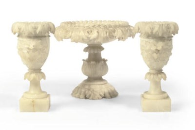 AN ITALIAN CARVED ALABASTER TA