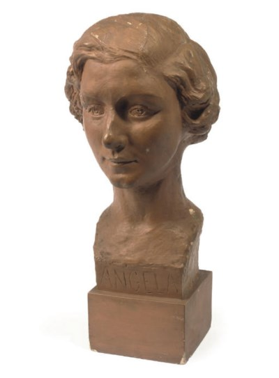 A PAINTED PLASTER BUST OF THE