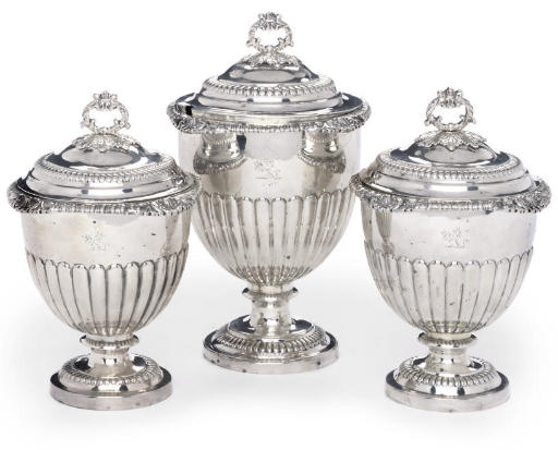 A SET OF THREE GEORGE III GILT