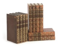 SPENSER, EDMUND. The Works. London: for F.C. & J. Rivington [etc.], 1805. 8 vols., 8o (212 x 130mm.), engraved portrait, later half calf, gilt ornaments on spines, rubbed -- STERNE, LAURENCE. The Works. London: for Cadell and Davies [etc.], 1819. 4 vols., 8o (212 x 134mm.), engraved portrait, contemporary calf, rebacked with calf gilt  (12)