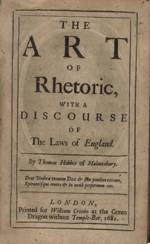 HOBBES, THOMAS. The Art of Rhe