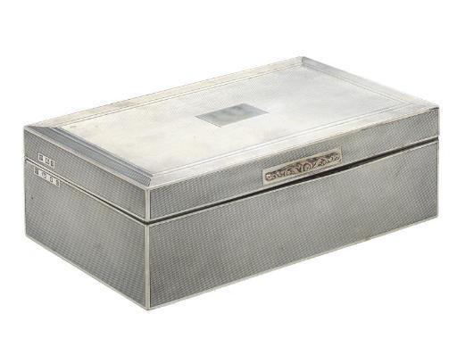 PRINCESS MARY'S CIGARETTE BOX A GEORGE V ENGINE-TURNED SILVER CIGARETTE BOX