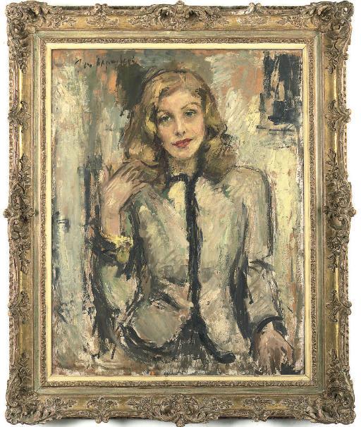 Portrait of the Hon. Mrs. Angela Lascelles, half-length, in a black trimmed jacket