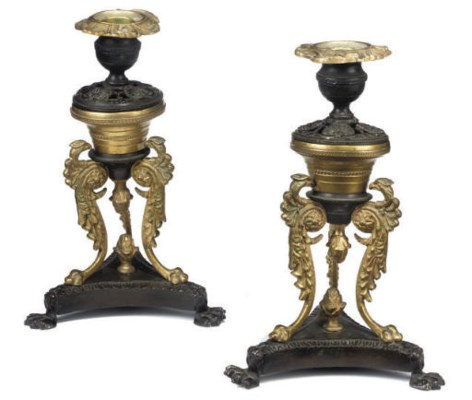 A PAIR OF WILLIAM IV BRONZE AN