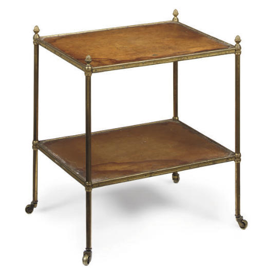 A GILT-BRASS TWO TIER ETAGERE