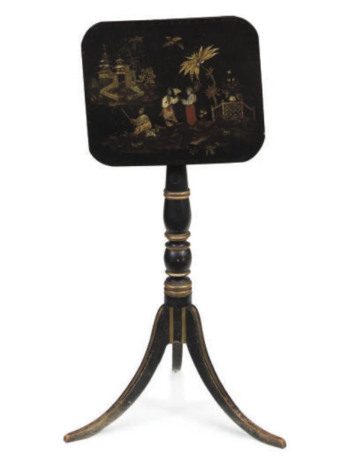 A REGENCY BLACK LACQUER CHINOI
