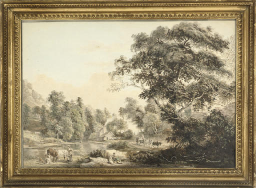 A wooded river landscape with dairy maids in the foreground, a cottage and travellers on a track beyond