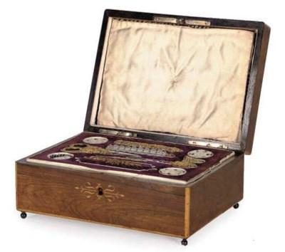 A WOODEN SEWING BOX, CIRCA 184