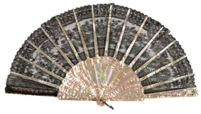 TWO MOTHER OF PEARL FANS