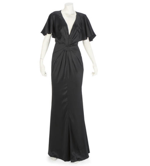 UNGARO, A BLACK SATIN 1930S ST