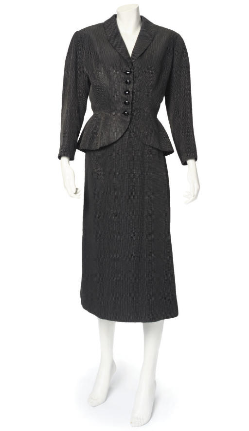 BALENCIAGA, A BLACK AND WHITE SPOTTED SUIT, 1950s