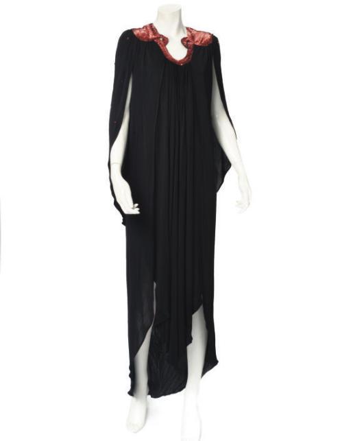 OSSIE CLARK, A BLACK MAXI DRESS
