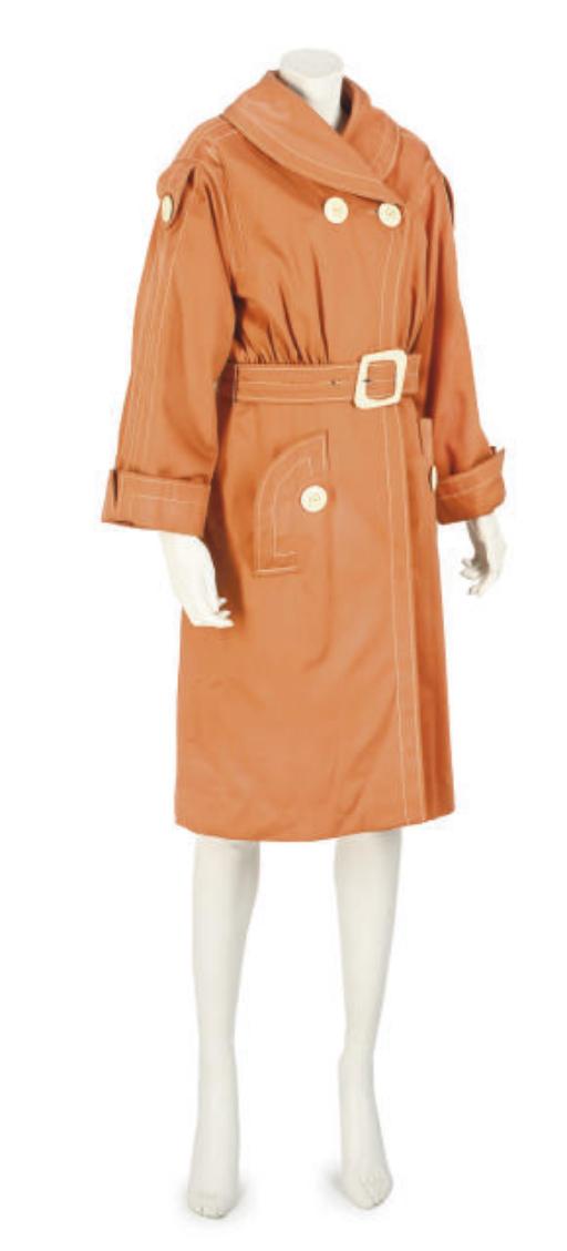 BILL GIBB, A TANGERINE COAT DRESS
