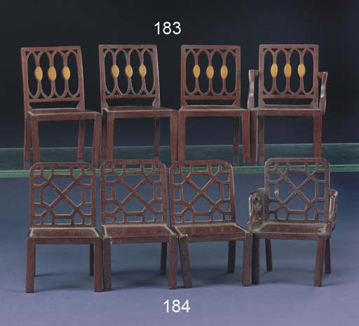 Four mahogany dining chairs of