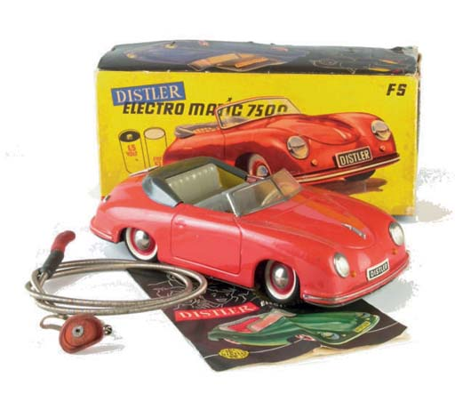 A Distler red battery-operated 7500 Electromatic Porsche 356
