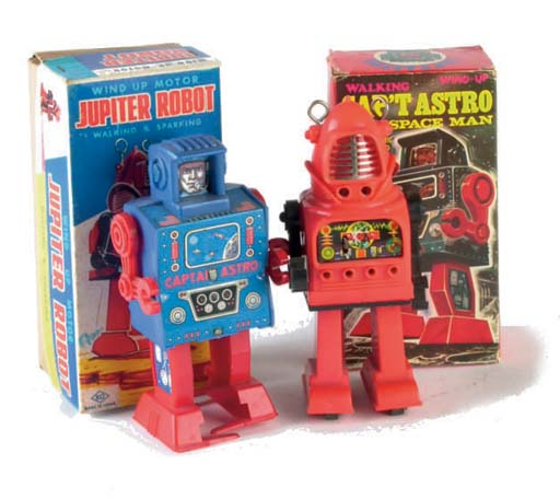 Clockwork lithographed tinplate and plastic robots