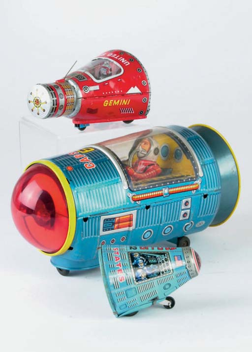 Japanese lithographed tinplate Space Capsules