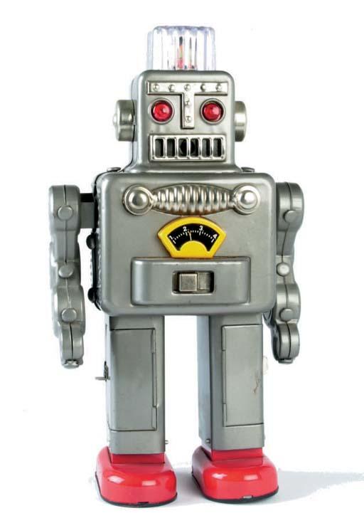 A Linemar battery-operated Smoking Space Man (after Yonezawa Smoking Robot)