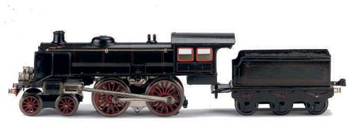 A Märklin 20 Volt electric 2-B (4-4-0) Locomotive and three-axle Tender