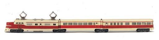 A Märklin red and ivory three-unit ST800R Electric Railcar