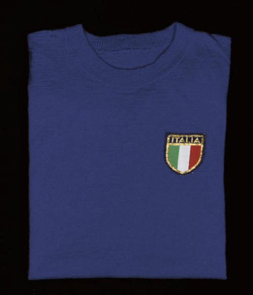 A BLUE ITALY SHORT-SLEEVED SHI