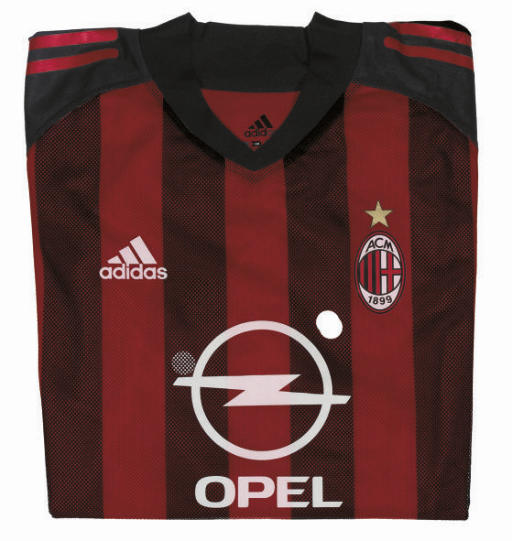 A RED AND BLACK AC MILAN SHORT