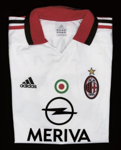 A WHITE AC MILAN SHORT-SLEEVED
