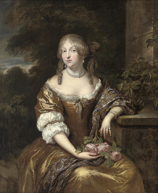 Portrait of a lady, seated three-quarter-length, in a gold dress and blue wrap with gold embroidery, a wooded landscape beyond