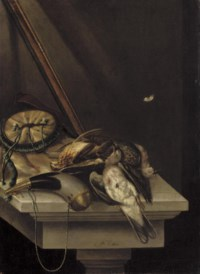 A still life of game and hunting acoutrements, on a stone ledge