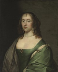 Portrait of Lady Lucy Pelham (d.1685), half-length, in a blue dress with pearl ornaments, and a grey wrap