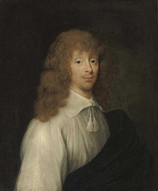 PORTRAIT TRADITIONALLY IDENTIFIED AS CATHERINE VANE (C.1628-1672) DRESSED AS A GENTLEMAN, HALF-LENGTH, IN A WHITE SHIRT WITH TASSLES AND A BLACK WRAP