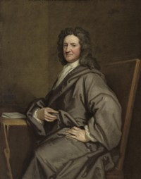 PORTRAIT OF SIR NICHOLAS PELHAM (C.1650-1739), SEATED, THREE-QUARTER-LENGTH, IN A GREY ROBE, BY A DRAPED TABLE WITH A LETTER