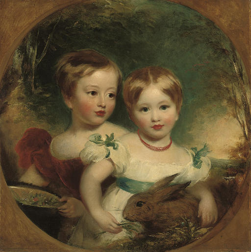 Double portrait of the artist's daughters, half-length, one in a red dress holding a basket of flowers, the other in a white dress with blue ribbons and sash, holding a rabbit, in a landscape