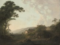 An extensive wooded landscape near Masham, Yorkshire, with travellers on a track, by a mill
