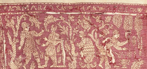 A REDWORK EMBROIDERED PANEL, 1
