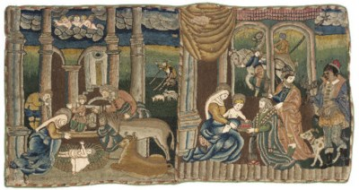 AN EMBROIDERED NATIVITY PANEL,