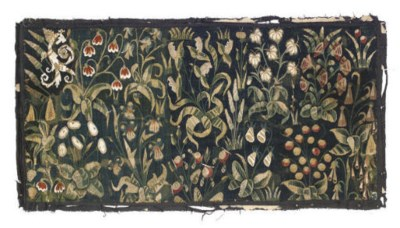 A MILLE FLEURS TAPESTRY FRAGME