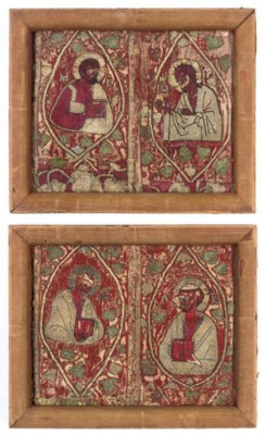 TWO FRAMED ORPHREY FRAGMENTS,